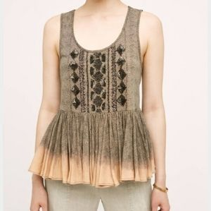 Anthro Akemi & Kin Sequined Peplum Anaphora Top M